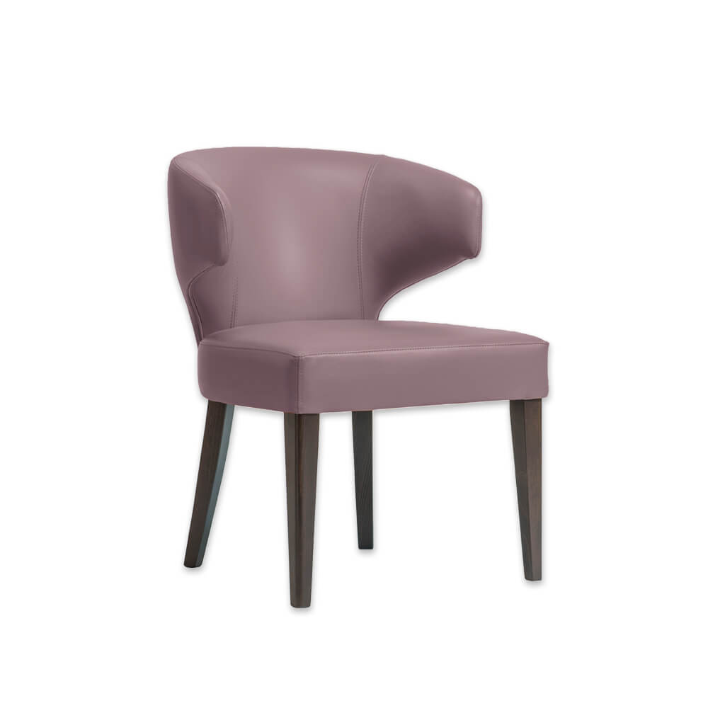 Barbara Pink Dining Chair with Padded Seat and Tapered Wooden Legs PO01 RC1 - Designers Image