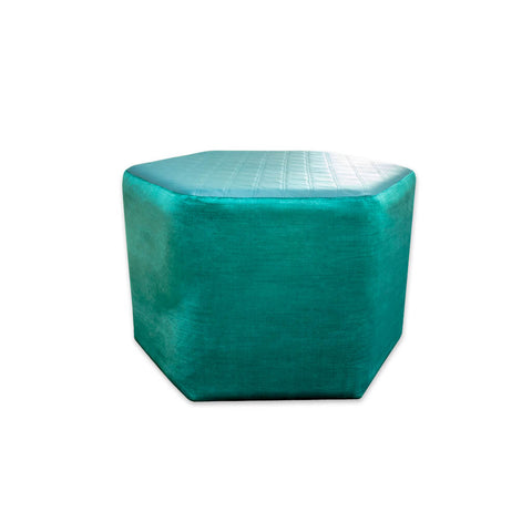 Bardot hexagonal turquoise ottoman with embossed top 10007 OT1