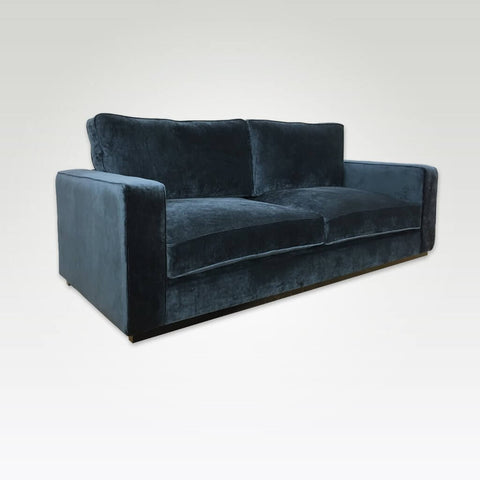 Beck dark blue velvet sofa bed with deep padded cushions 9000 SB1