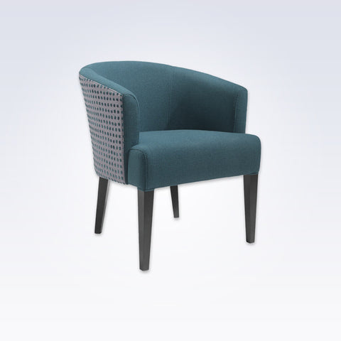 Bianca Blue Fabric Tub Chair With Rounded Backrest And Tapered Legs 2038 TC1