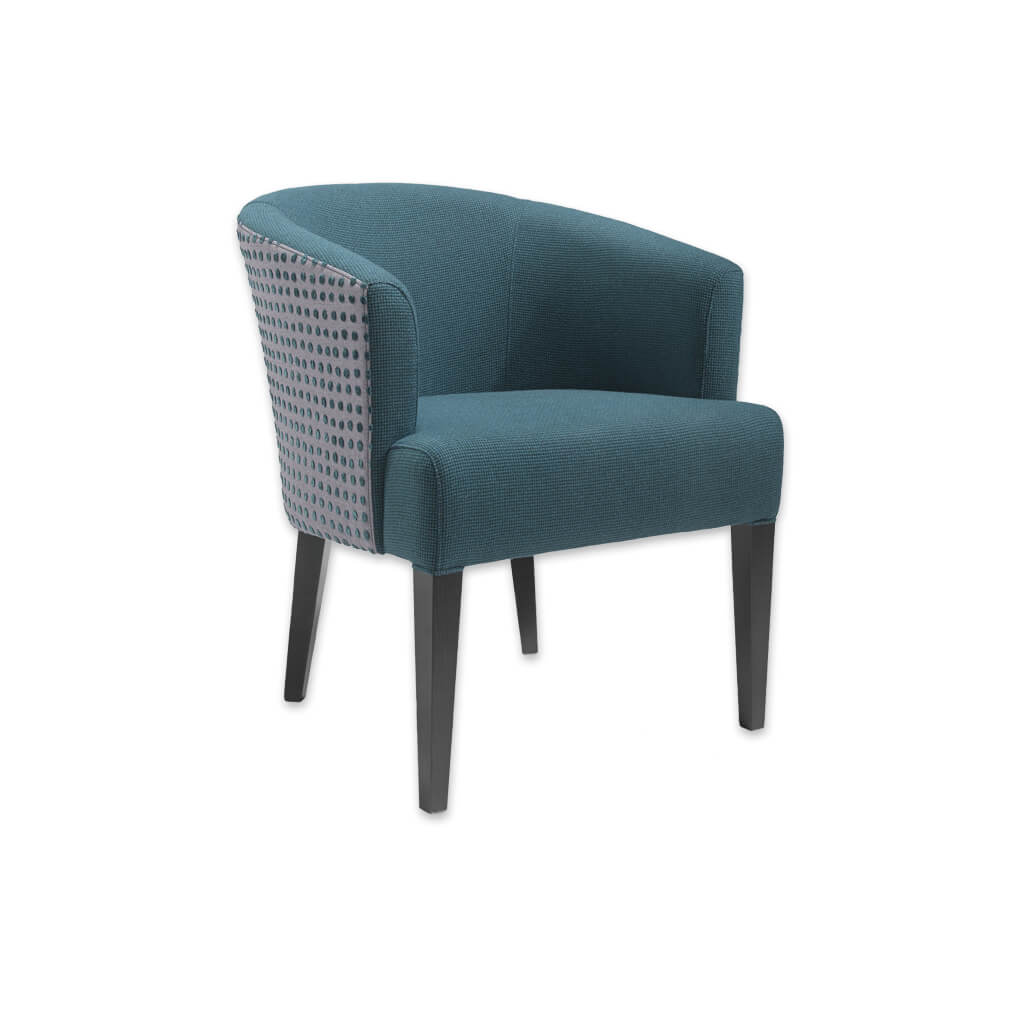 Bianca Blue Fabric Tub Chair With Rounded Backrest And Tapered Legs 2038 TC1 - Designers Image