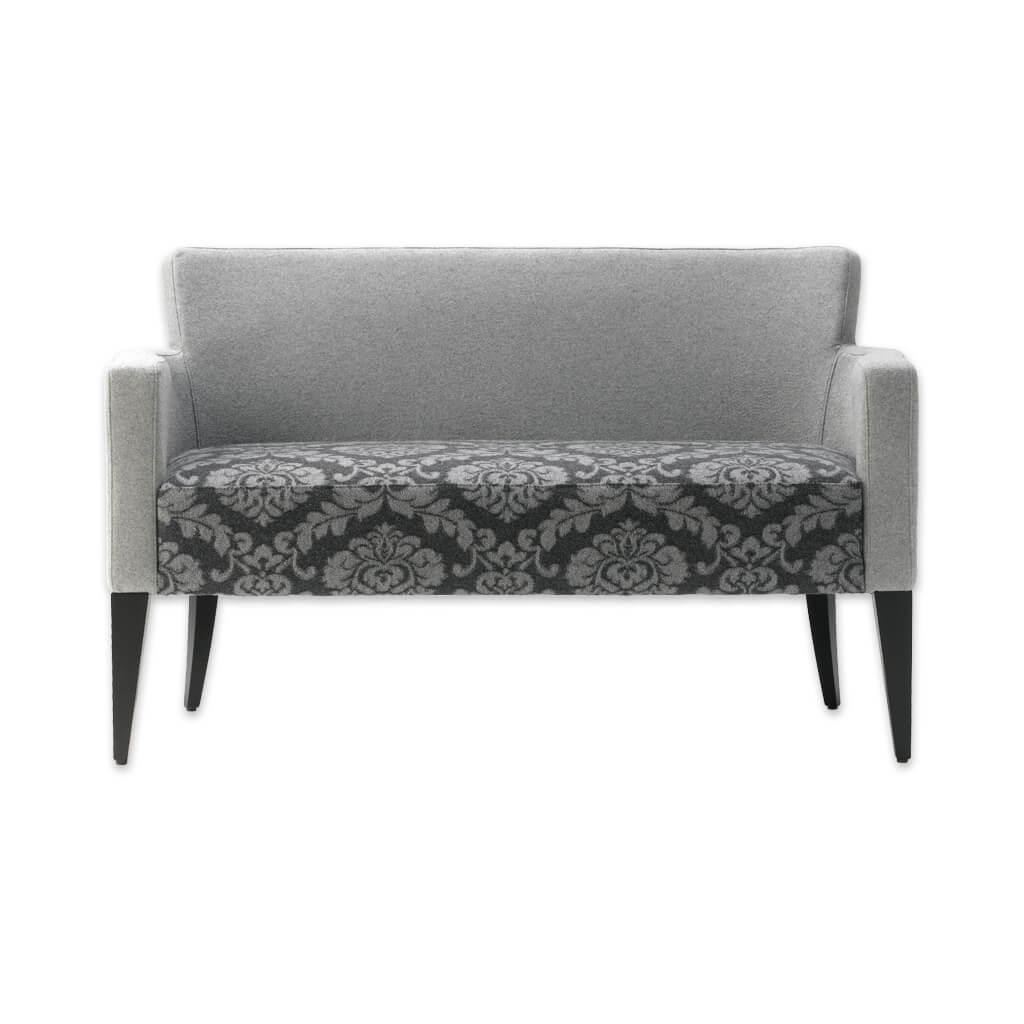 Bitonti grey floral sofa upholstered with contrast arms and tapered wooden legs 8018 SF1 - Designers Image