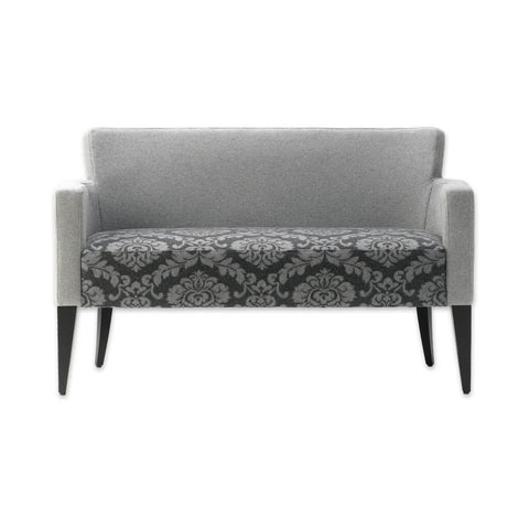 Bitonti grey floral sofa upholstered with contrast arms and tapered wooden legs 8018 SF1