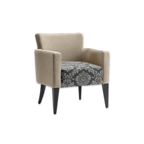 Bitonti Upholstered Floral Lounge Chair with a Deep Padded Seat and Tapered Legs 1026 LC1
