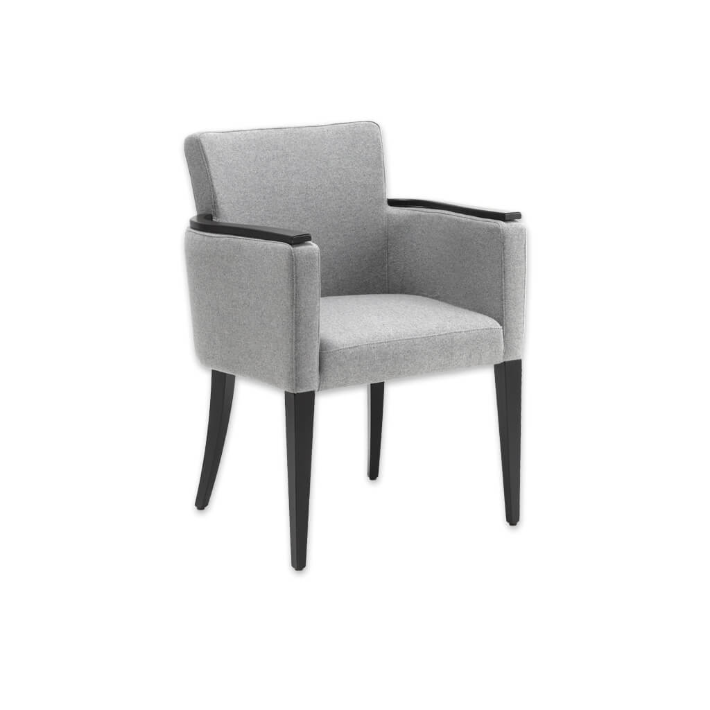 Bitonti Light Grey Tub Chair with High Show Wood Armrests and Tapered Legs 2027 TC1 - Designers Image