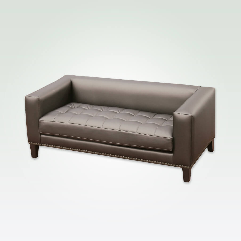 Blog brown leather sofa with square arms and back, decorative buttoning to the seat cushion and studding to trim the base 8003 SF1