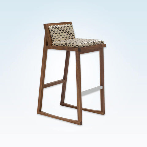 Bohemia patterned bar stools with low back and  timber ski legs 6053 BR1