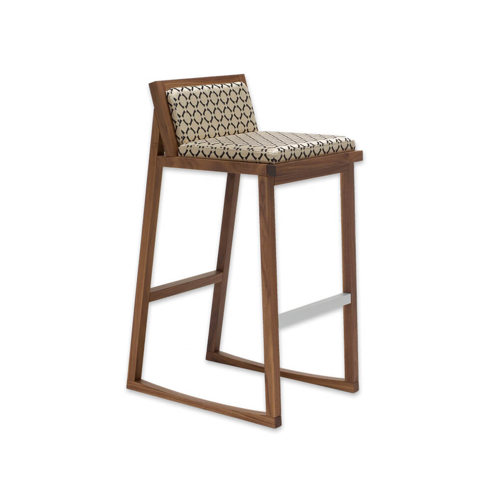 Bohemia patterned bar stools with low back and  timber ski legs 6053 BR1 - Designers Image