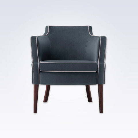 Brizio Full Upholstered Dark Blue Tub Chair With White Piping 2007 TC1