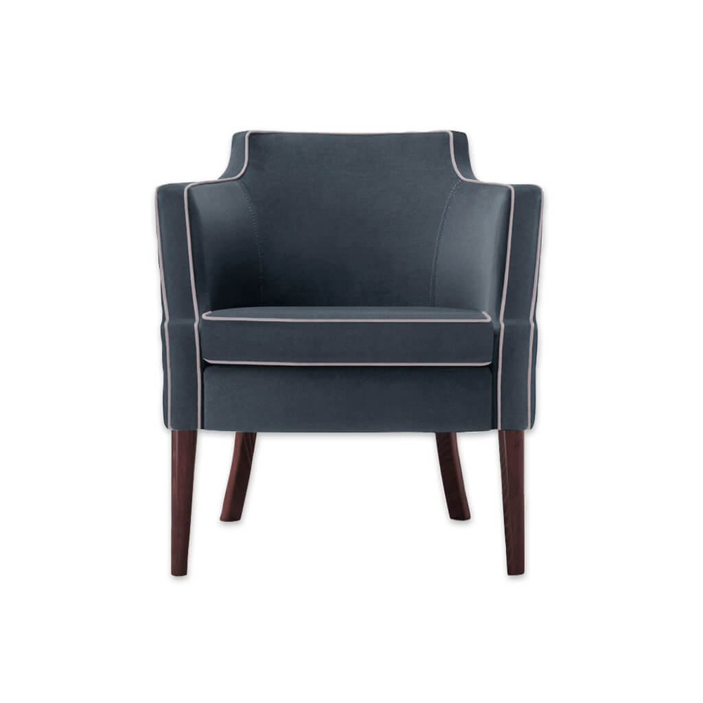 Brizio Full Upholstered Dark Blue Tub Chair With White Piping 2007 TC1 - Designers Image