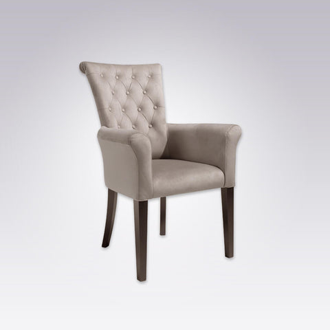 Bruelle Grey Button Back Armchair Fully Upholstered With Scroll Backrest and Arms 4028 AC1