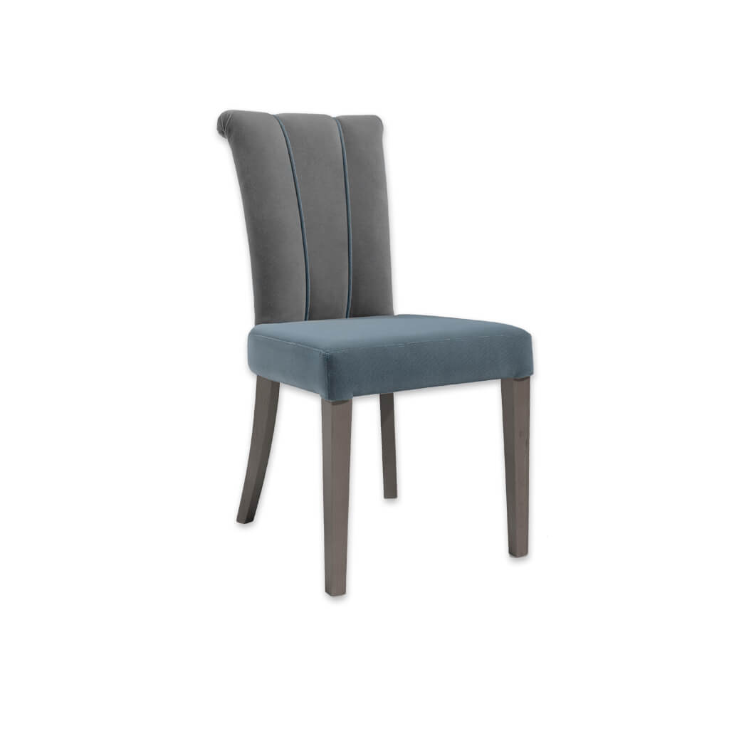 Bruelle Blue Upholstered Dining Chair with Fluted Back Upholstery Detail and Scroll Back 3056 RC2 - Designers Image