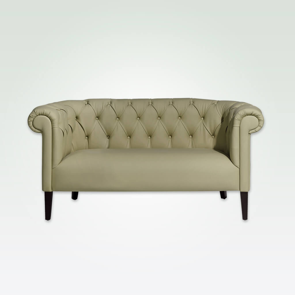 Burnell cream tufted sofa with deep buttoning and wooden legs 8011 SF1