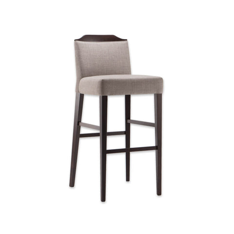 Caesar light brown bar stool with show wood finish to the back and tapered wooden legs  6006 BR1