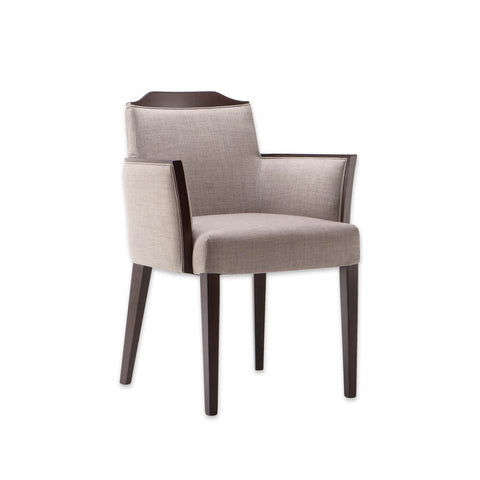 Caesar Cream Fabric Armchair with Brown Tapered Legs and Show Wood Back and Arm Detail 4005 AC1
