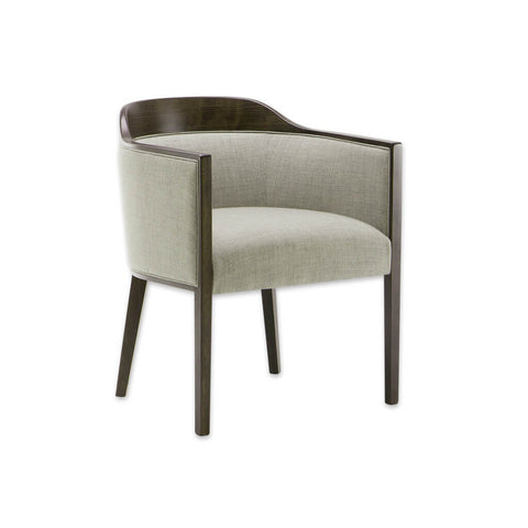 Caesar Beige Upholstered Tub Chair With Show Wood Edging and Tapered Legs 2006 TC1
