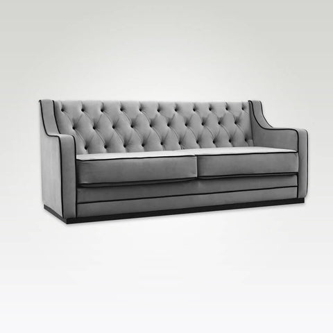 Camillo contemporary grey and black sofa bed with contrast piping trim and decorative buttoning 9008 SB1