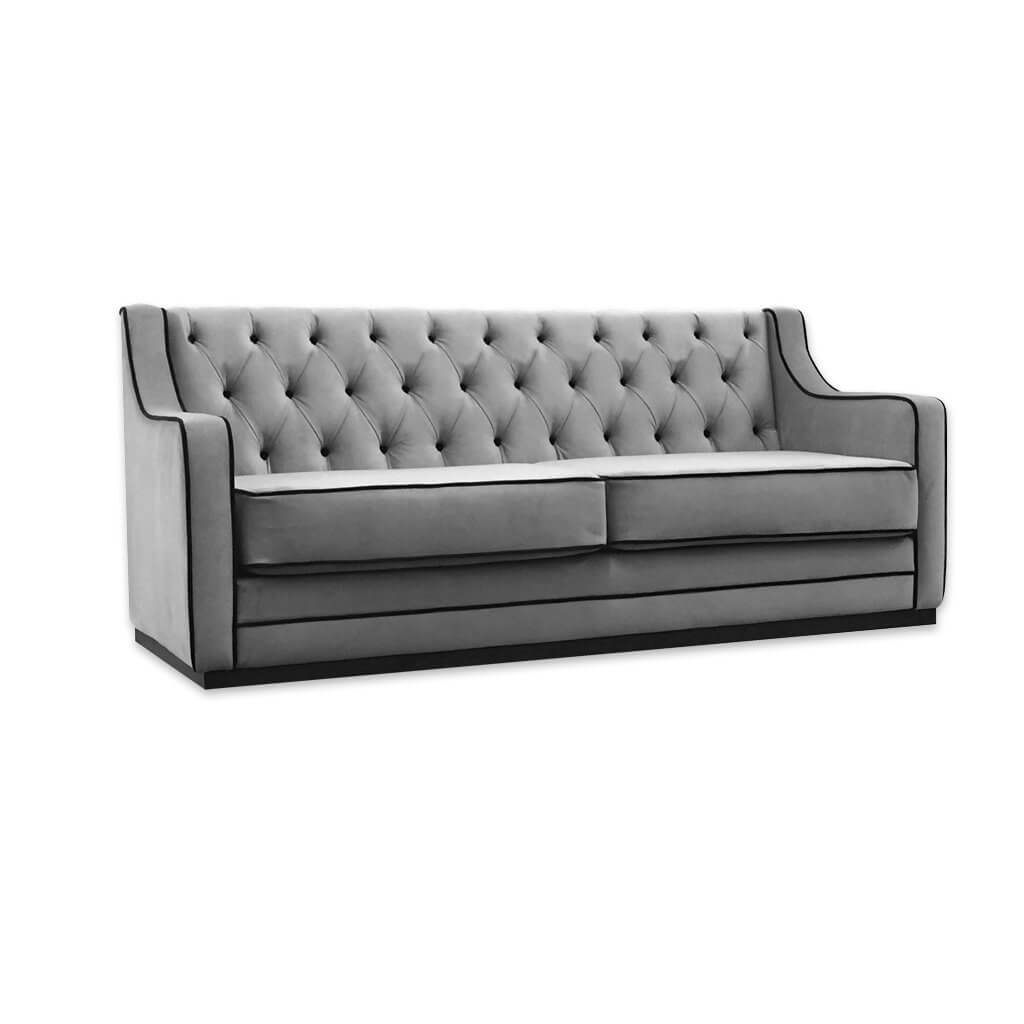 Camillo contemporary grey and black sofa bed with contrast piping trim and decorative buttoning 9008 SB1 - Designers Image