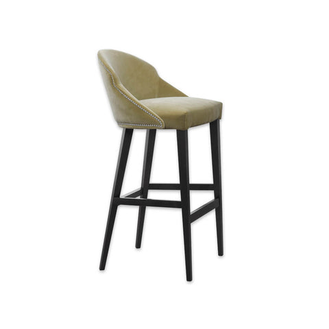 Candi sage green bar stool with curved, padded backrest and seat 6042 BR1