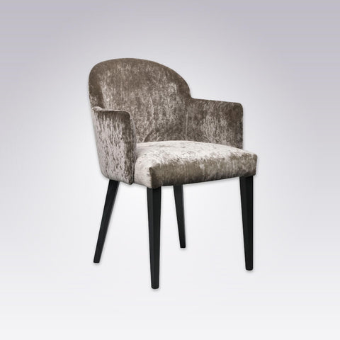Candi Full Upholstered Brown Velvet Armchair with Round Back 4037 AC1