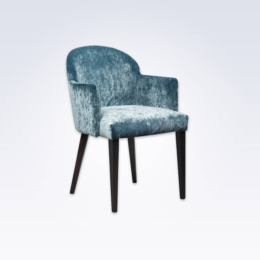 Candi Blue Velvet Tub Chair With Curved Backrest and Deep Padded Seat 2050 TC1
