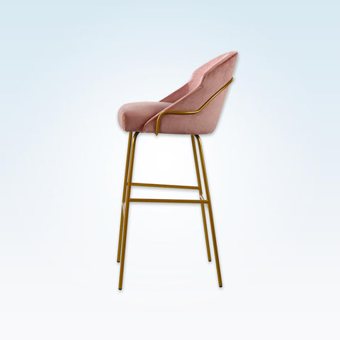 Candi tube pink bar stool with curved, padded backrest and metal frame 6042 BR2