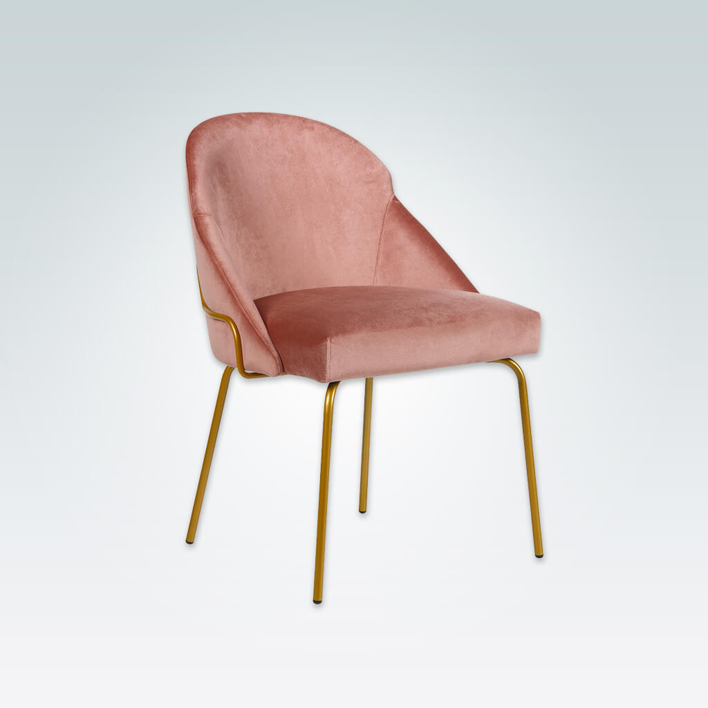 Candi Tube Pink Dining Chair with Scoop Back and Metal Frame 3067 RC2