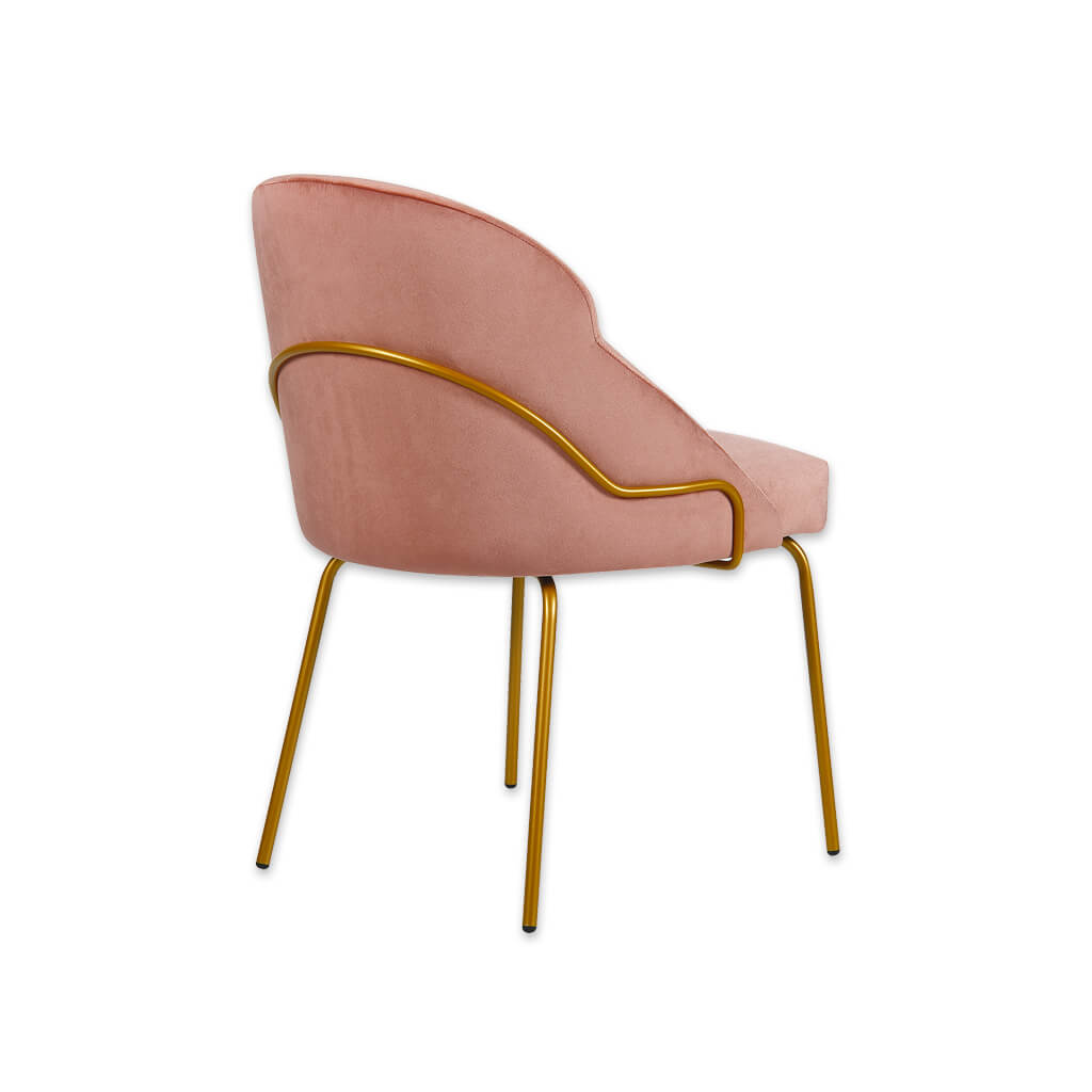 Back of Candi Tube Pink Dining Chair with Scoop Back and Metal Frame 3067 RC2 - Designers Image