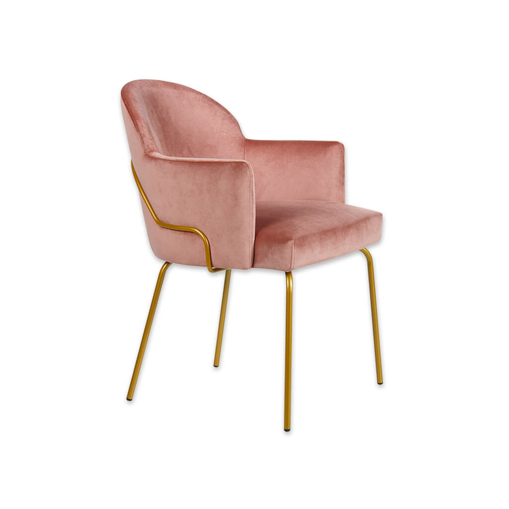 Candi Tube Baby Pink Tub Chair With Curved Backrest and Metal Frame 2050 TC2 - Designers Image