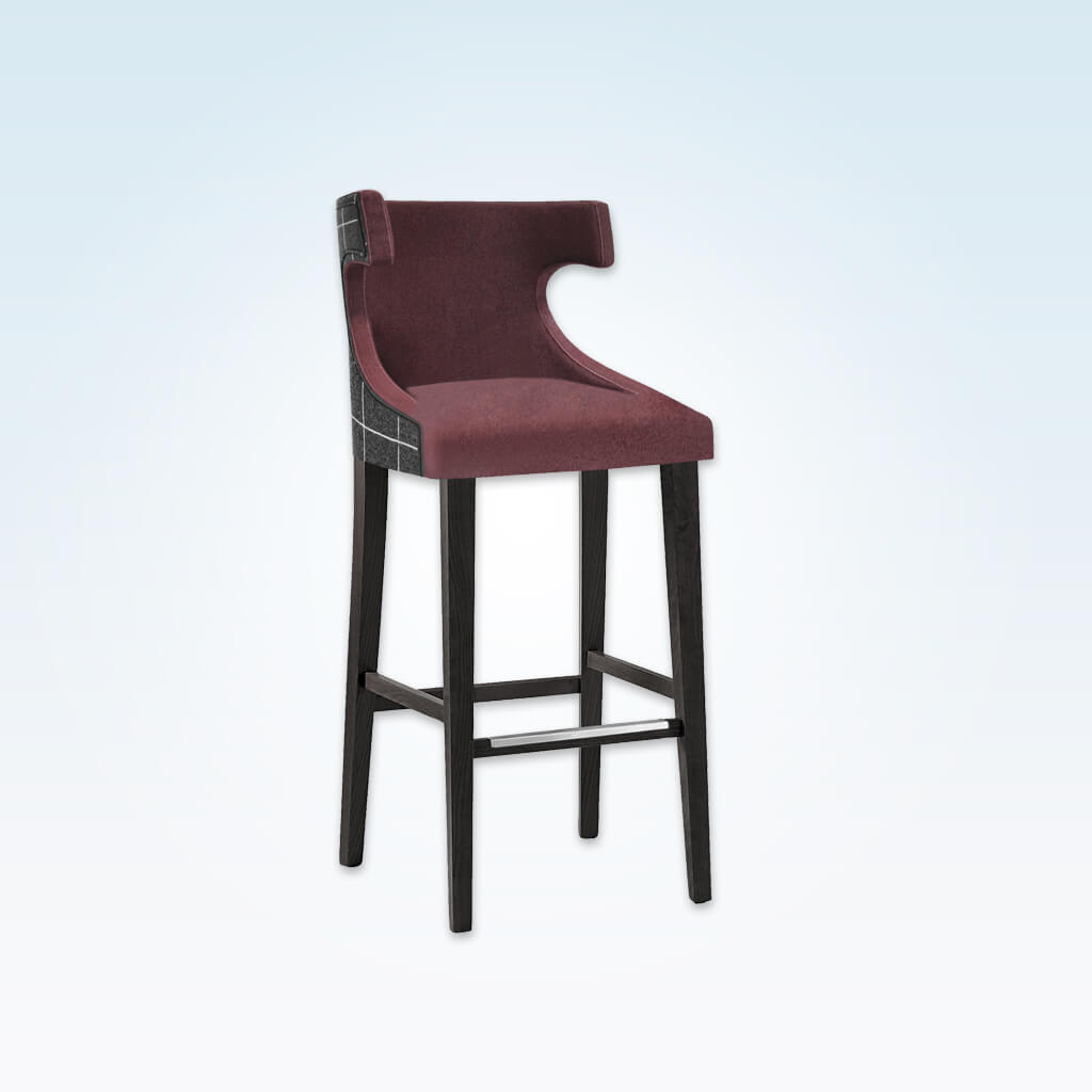 Capture plum bar stool with high hammerhead backrest and sturdy timber legs with metal reinforced kick plate 6009 BR1