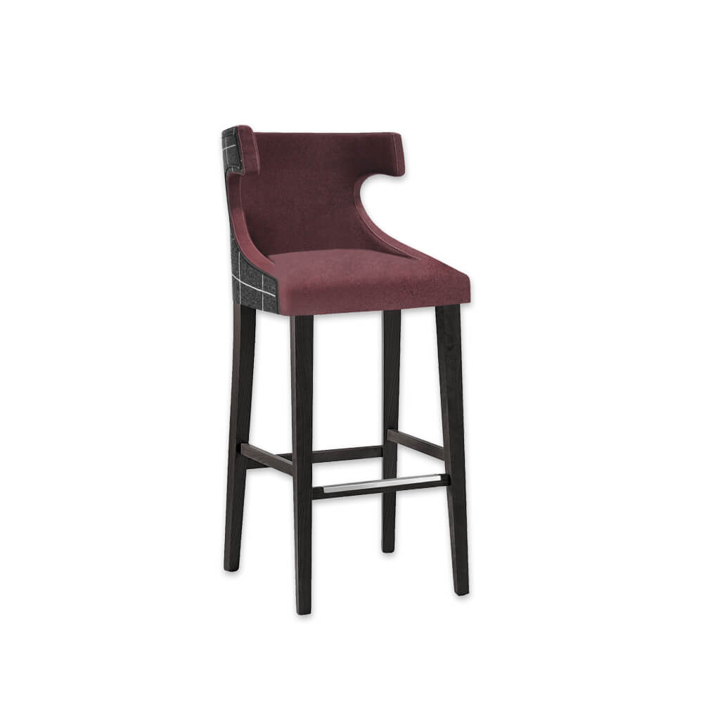 Capture plum bar stool with high hammerhead backrest and sturdy timber legs with metal reinforced kick plate 6009 BR1 - Designers Image