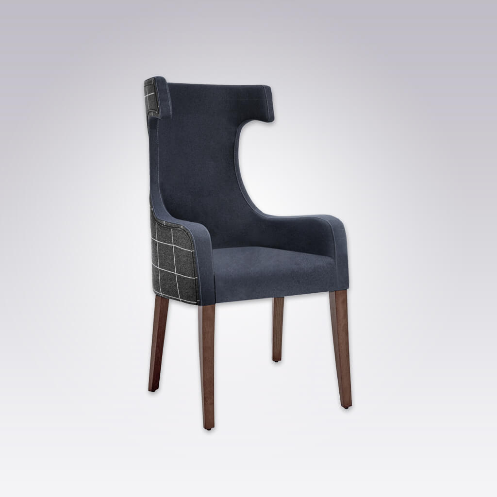 Capture Dark Blue Armchair with Curved Arms and Hammer Head Back 4006 AC1