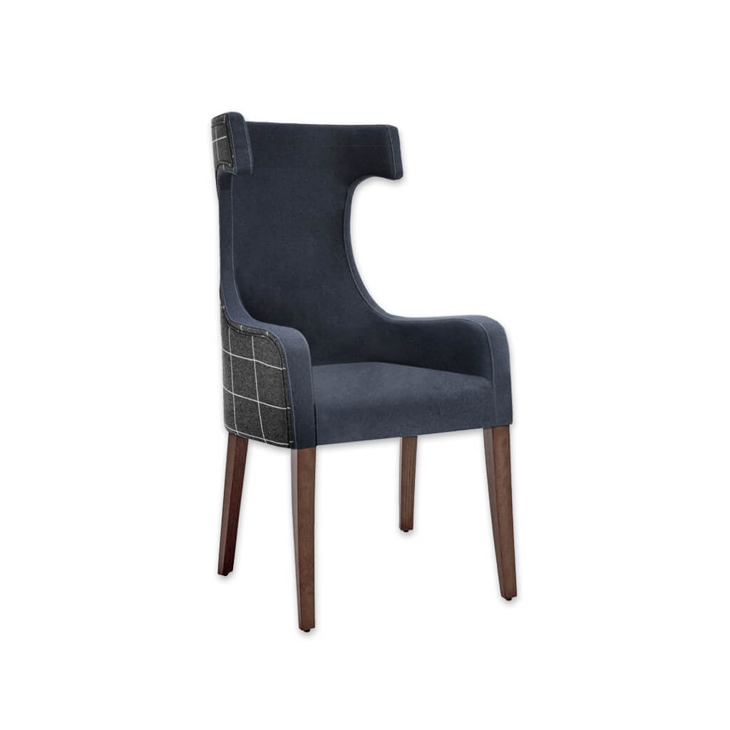 Capture Dark Blue Armchair with Curved Arms and Hammer Head Back 4006 AC1 - Designers Image