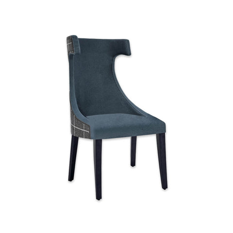 Capture Dark Blue Dining Chair Split Fabric Fully Upholstery with Hammer Head Backrest 3015 RC1