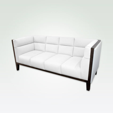 Cava white leather sofa with deep padded cushions featuring decorative stitching and a show wood trim to the arm and back rests 8033 SF1