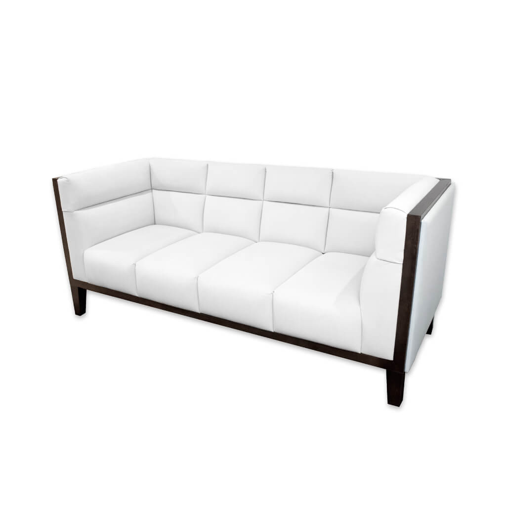 Cava white leather sofa with deep padded cushions featuring decorative stitching and a show wood trim to the arm and back rests 8033 SF1 - Designers Image
