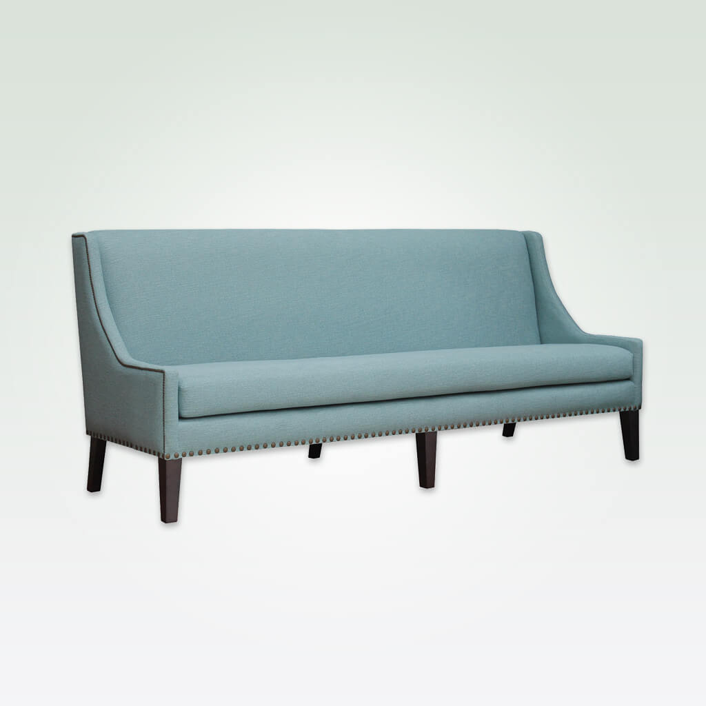 Cerler baby blue sofa with high backrest and attractive piping and studding trims and six tapered wooden legs 8003 SF1