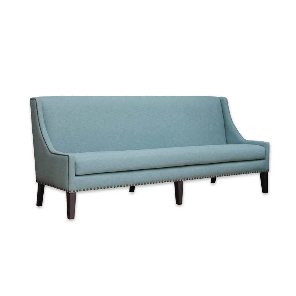 Cerler baby blue sofa with high backrest and attractive piping and studding trims and six tapered wooden legs 8003 SF1 - Designers Image