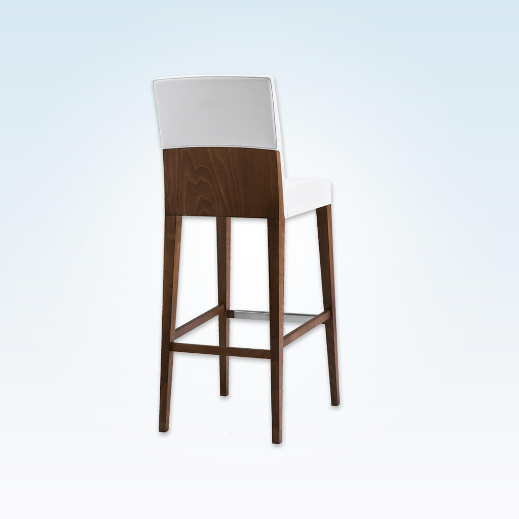 Charme white bar stool with back featuring show wood and square back and seat 6010 BR1