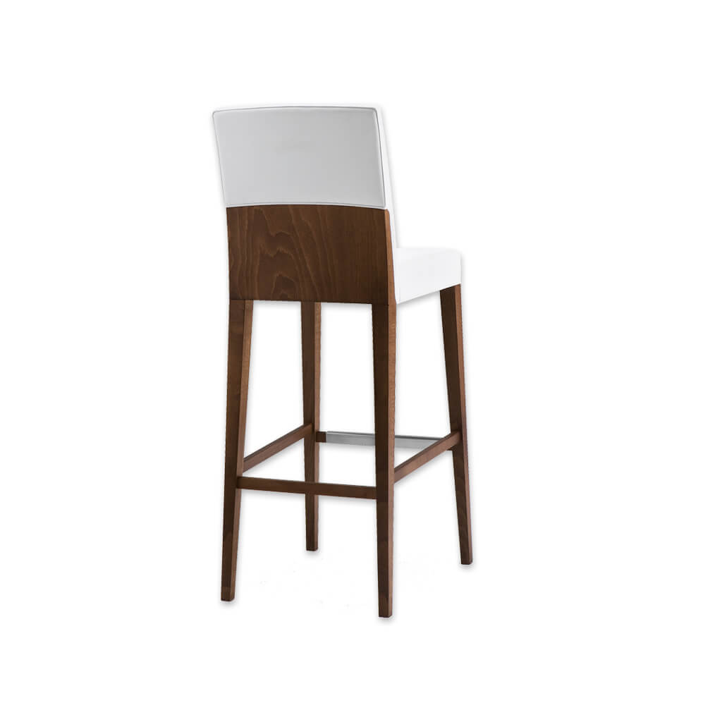 Charme white bar stool with back featuring show wood and square back and seat 6010 BR1 - Designers Image