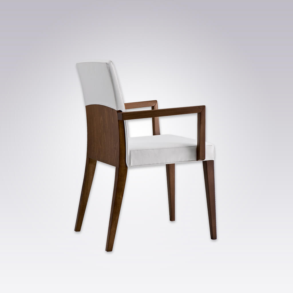 Charme Brown Wooden Armchair with Fully Upholstered White Seat Pad and Show Wood Frame 4007 AC1