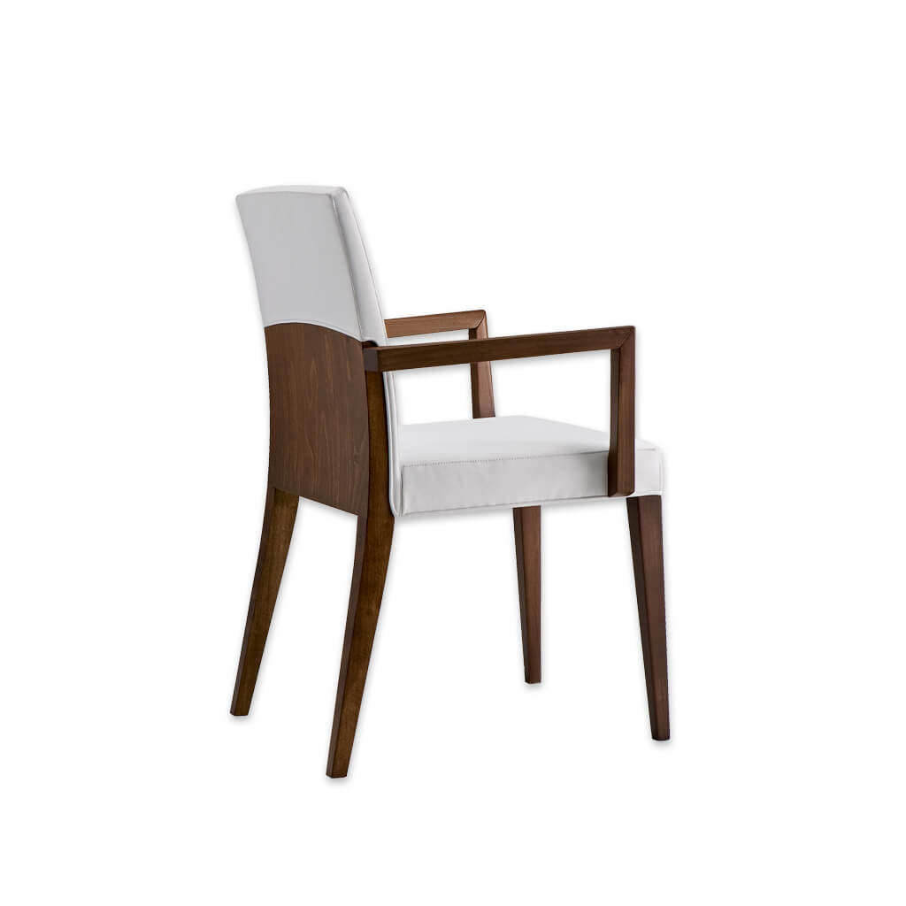 Charme Brown Wooden Armchair with Fully Upholstered White Seat Pad and Show Wood Frame 4007 AC1 - Designers Image