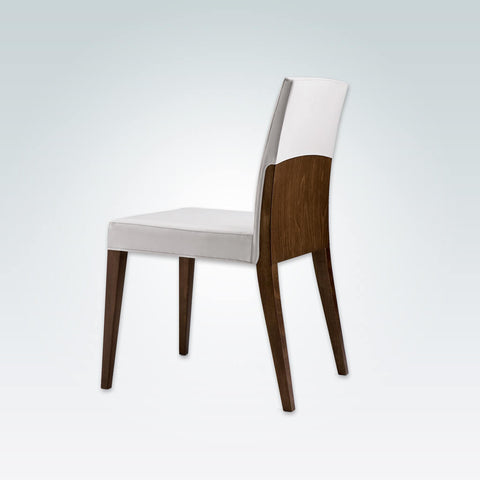 Charme White Wooden Dining Chair  with Fully Upholstered White Seat Pad and Show Wood Frame  3016 RC1