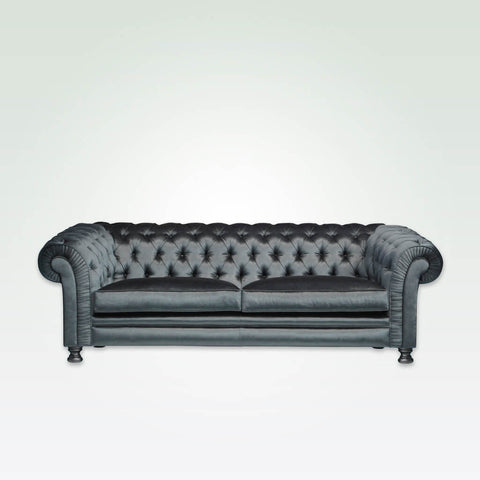Chester grey leather sofa with scroll arms and back featuring deep buttoning and bun feet 8013 SF1