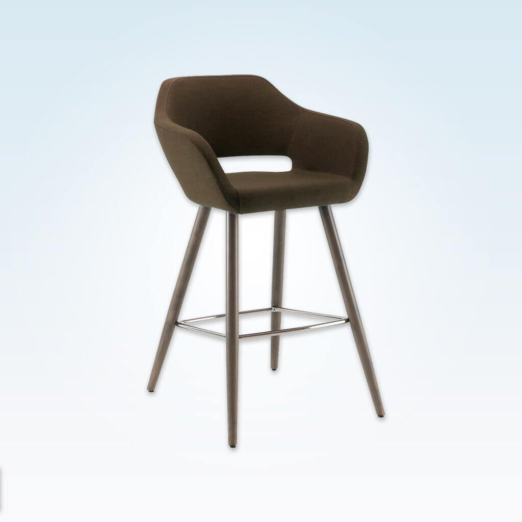 Ciro dark brown bar stool with cut out back detail and cylindrical timber legs with metal kick plate 3061 BR1