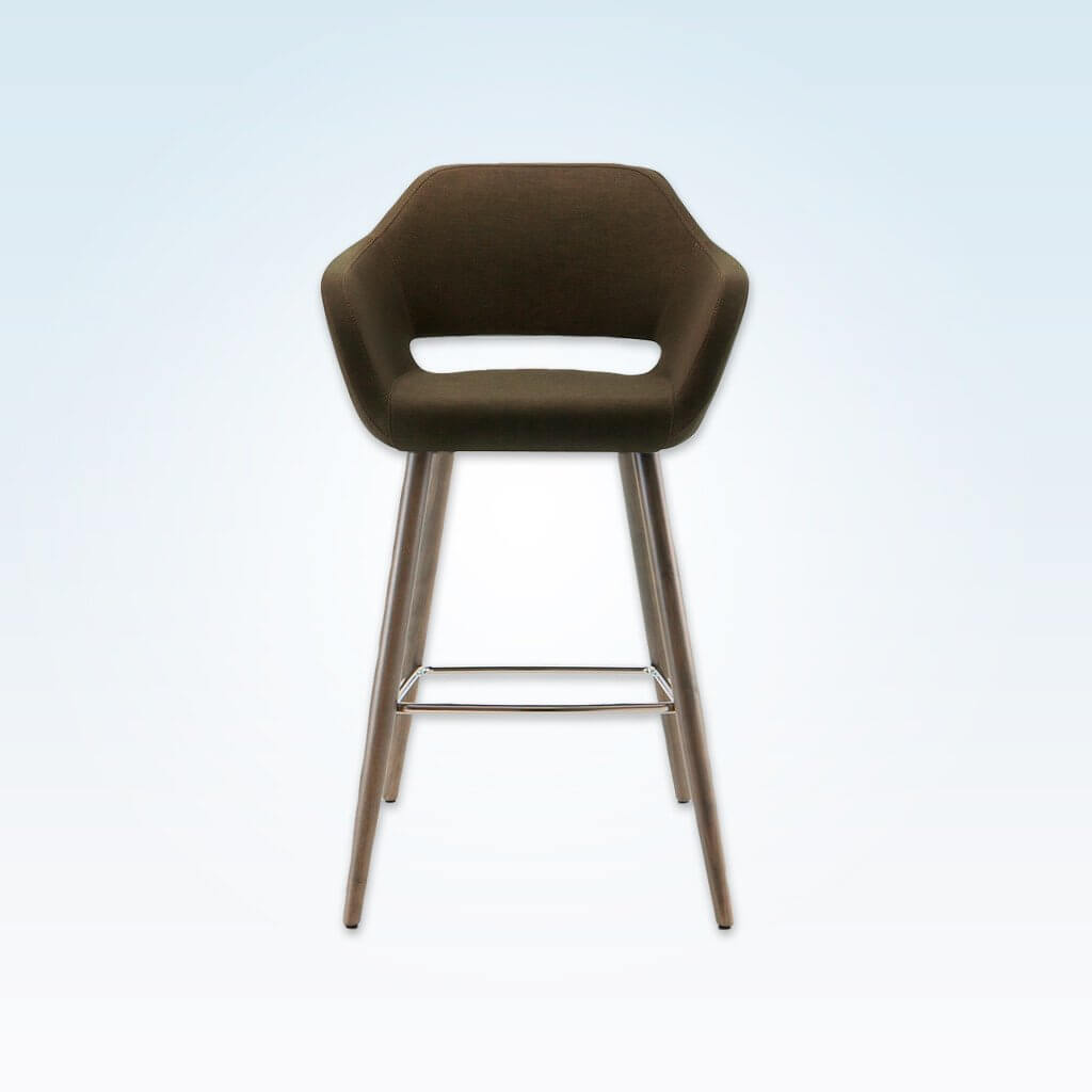 Ciro dark brown bar stool with cut out back detail and cylindrical timber legs with metal kick plate 3061 BR1 - Front
