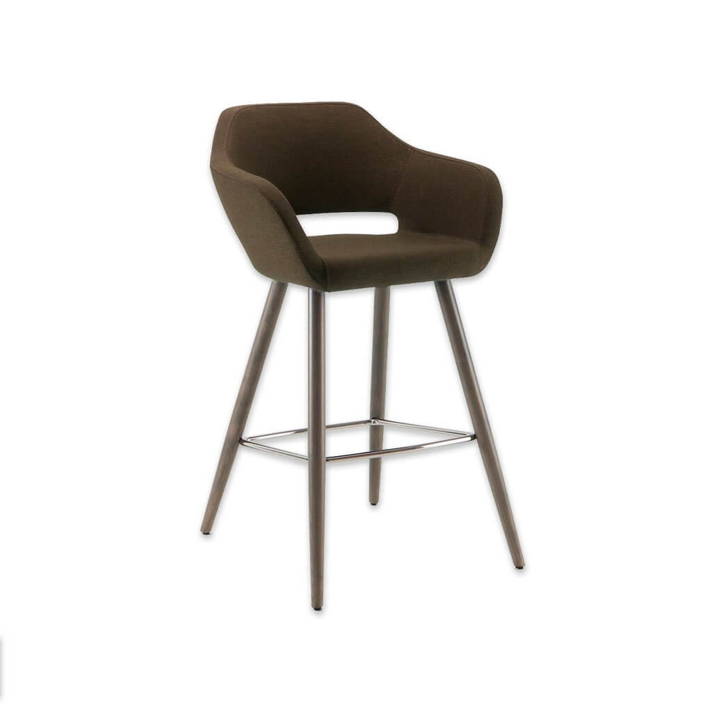 Ciro dark brown bar stool with cut out back detail and cylindrical timber legs with metal kick plate 3061 BR1 - Designers Image