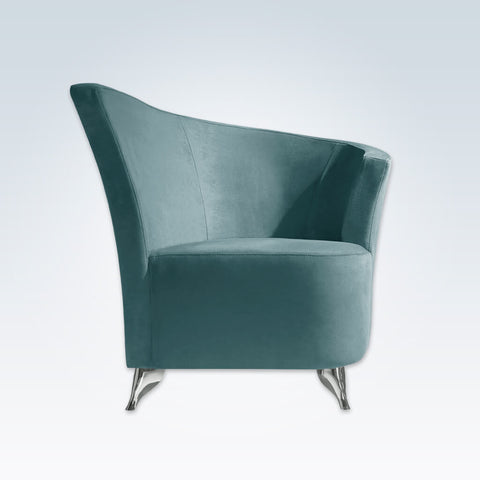 Claudia turquoise accent chair with a-symmetric curved backrest and chrome finished feet 7012 AT1