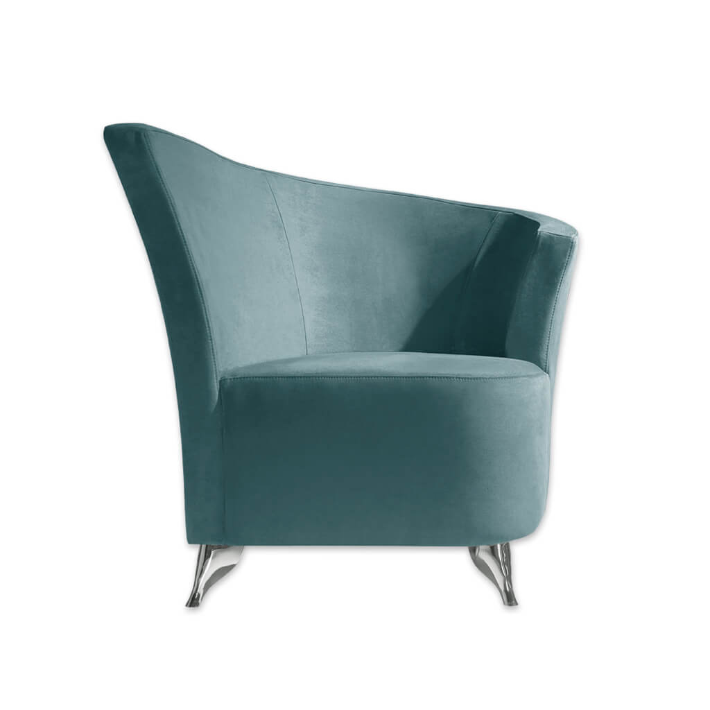 Claudia turquoise accent chair with a-symmetric curved backrest and chrome finished feet 7012 AT1  - Designers Image