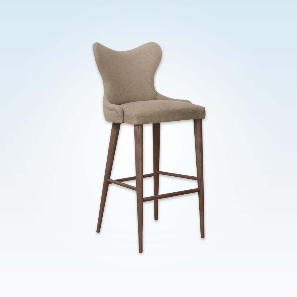 Cleo fabric bar stool with curvaceous padded backrest and tapered timber legs splayed to the rear 6012 BR1